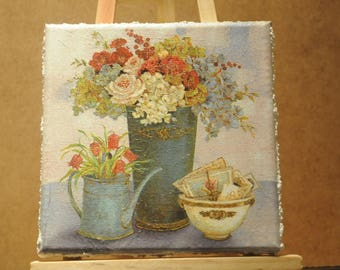"""Lovely small painting, square, """"Flowers"""" theme"""