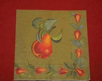 """fruits and vegetables """"Pears"""" themed paper napkin"""