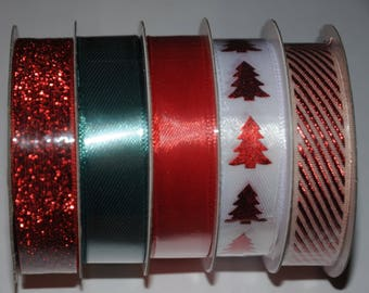 Set of 5 ribbons in Christmas colors