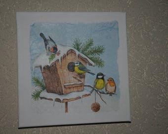 """small painting, square, """"snow birds"""" theme"""