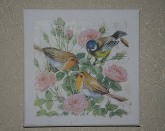 "small painting, square, ""birds"" theme"