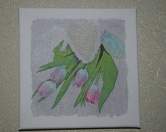 """small painting, square, """"tulips"""""""