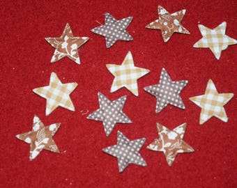 Christmas decoration: set of 12 stars fabric