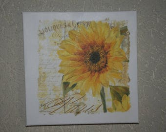 """small painting, square, """"Sunflower"""" theme"""