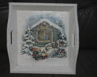"""small, square plate, """"House of Father Christmas"""" theme"""