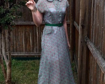 1940s Sheer Purple and Green Dress w/ Peter Pan Collar and Rhinestone Buttons