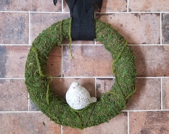 Moss Wreath with Bird - Handmade