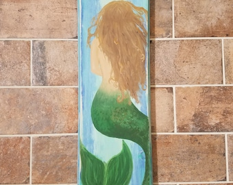 Mermaid Sign - Hand-Painted and Distressed
