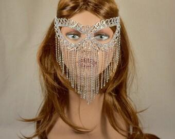 Iridescent/AB Rhinestone Metal Masquerade Mask, Mardi Gras Mask, Masquerade Mask, Jeweled Bridal Mask, Queen Mask,new year party mask