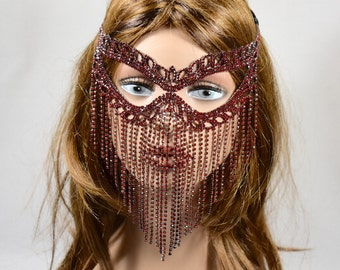Red Rhinestone Metal Masquerade Mask, Red Mardi Gras Mask, Masquerade Mask, Jeweled Bridal Mask, Queen Mask,new year party mask