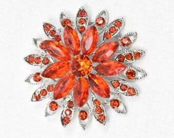 Beautiful Red Rhinestone Crystal Flower Brooch, Red Rhinestone Brooch with silver Base, Brooches, Brooch, Broach