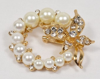 Gold tone Gorgeous Rhinestone and faux pearl Bridal wedding Bouquet Brooch pin