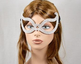 Crystal Rhinestone Metal Masquerade Mask, Women eye Mask, Masquerade Ball Mask, Jeweled Bridal Mask Ice Queen Mask,mardi gras mask,eye mask
