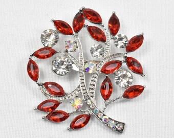 Beautiful Red Rhinestone Crystal Brooch, Red Rhinestone Brooch with silver Base, Brooches, Brooch, Broach