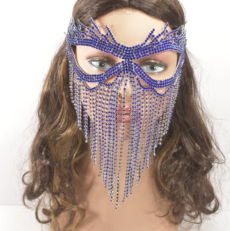 Masquerade Mask Jeweled Bridal Mask BlueRoyal Blue Rhinestone Metal Masquerade Mask Queen Mask,new year party mask Mardi Gras Mask