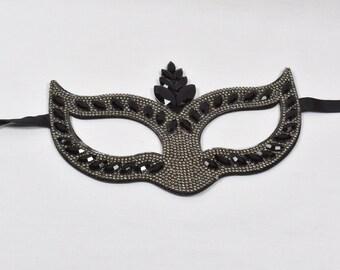 Black Rhinestone Masquerade Mask, Masquerade Mask, Masquerade Ball Mask, Mardi Gras Mask, venetian carnival mask,mask, crown mask