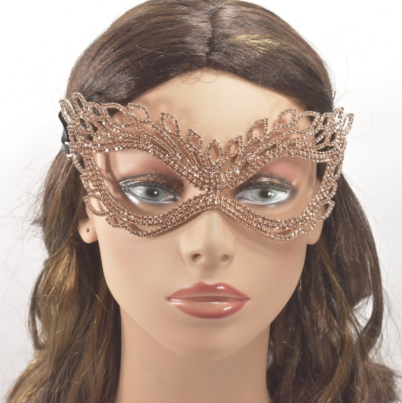 Rose Gold Peach Rhinestone masquerade mask Ball mask new year party mask mask for women eye mask mardi gras mask Rhinestone Mask