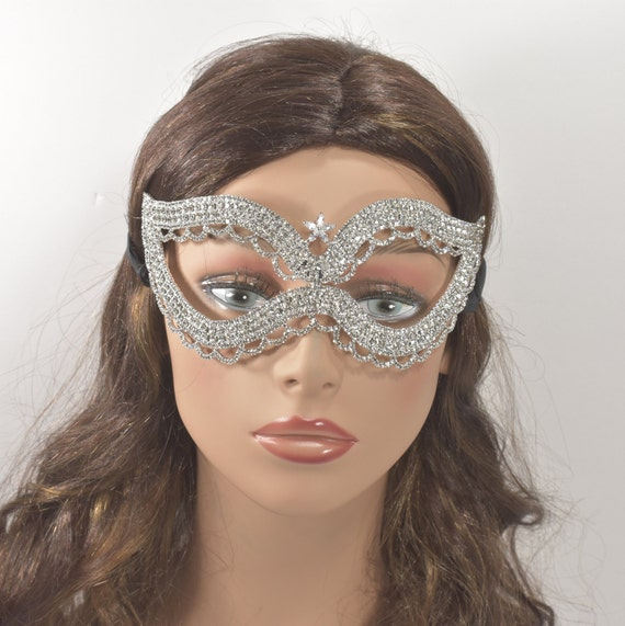 FLEXIBLE  Clear Crystal Rhinestone Silver Masquerade Mask Women eye Mask Masquerade Ball Mask Rhinestone mardi gras mask Ice Queen Mask