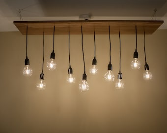 Statement 10 Pendant Walnut Wood Dining Room Chandelier Or Restaurant Table Edison Light Fixture
