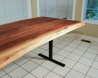 Live Edge Natural Walnut Dining Table On Steel Legs   Custom Solid Walnut Wood  Table
