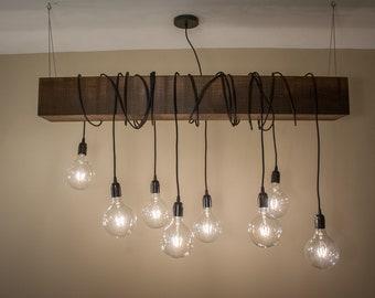 Rustic Wood Beam Ceiling Chandelier Lighting Fixture with 8 Edison Bulb Pendant Lights & Rustic lighting | Etsy