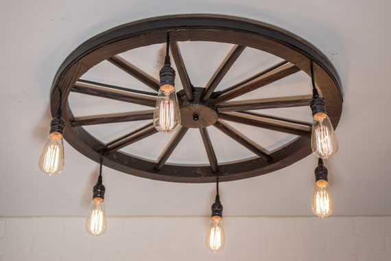 Farmhouse Light Fixture - Low Profile Rustic Kitchen Lighting - 6 Pendant  Edison Light - Wagon Wheel Chandelier