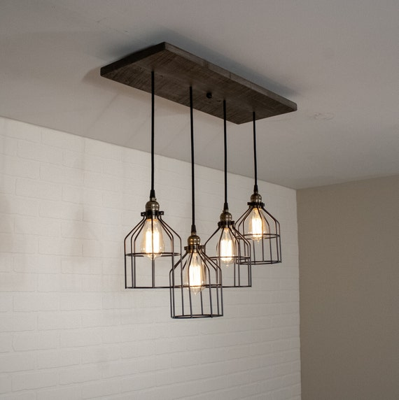 Wood Chandelier Lighting - Rustic Kitchen Island Light featuring 4 Edison  Bulb Pendants with Cages - Custom Edison Lighting