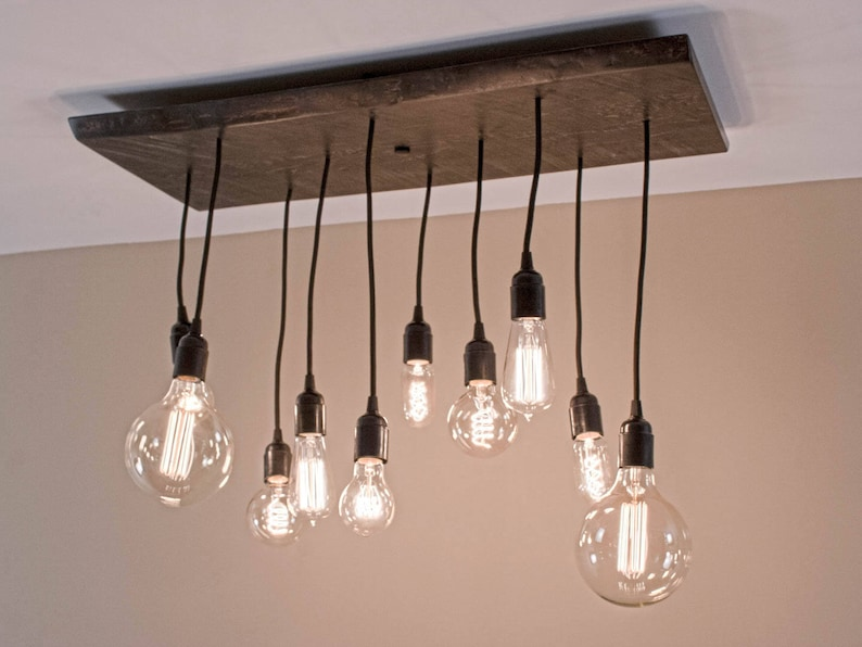 Farmhouse Dining Room Wood Chandelier Featuring 10 Pendants