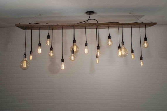 Large Wood Light Fixture Restaurant Lighting 17 Pendant Edison Lighting Chandelier Edison Bulb Dining Room Lighting