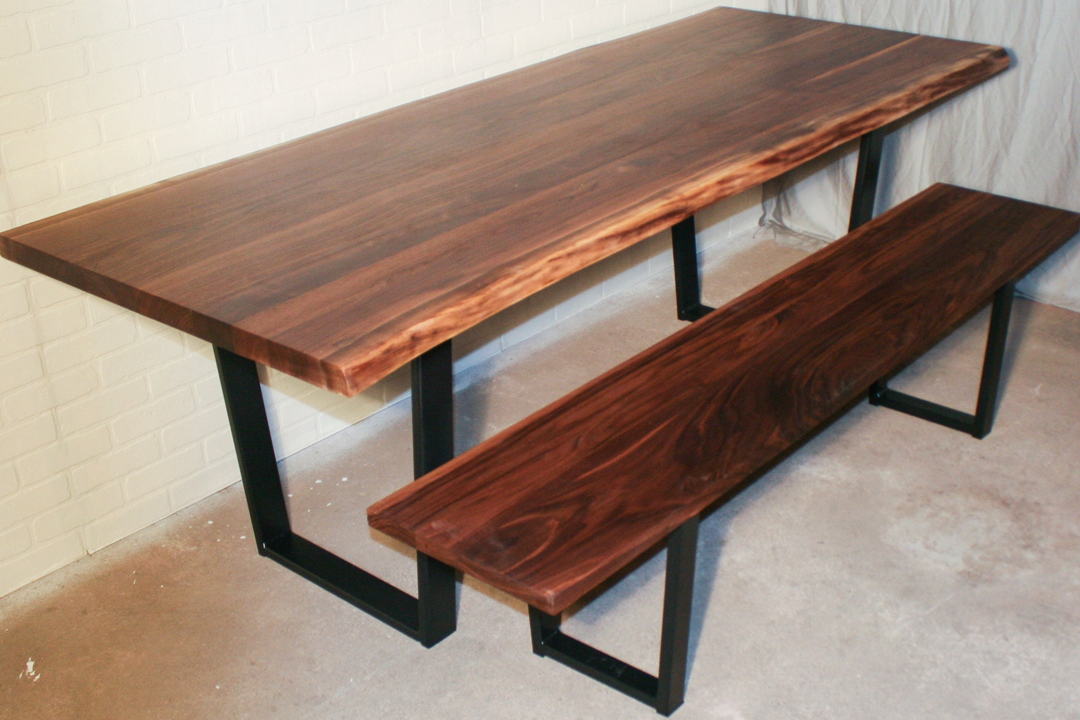 Custom Live Edge Walnut Dining Table Set - Custom Kitchen Table with Bench  on Steel Legs - Farmhouse Kitchen Dining Set