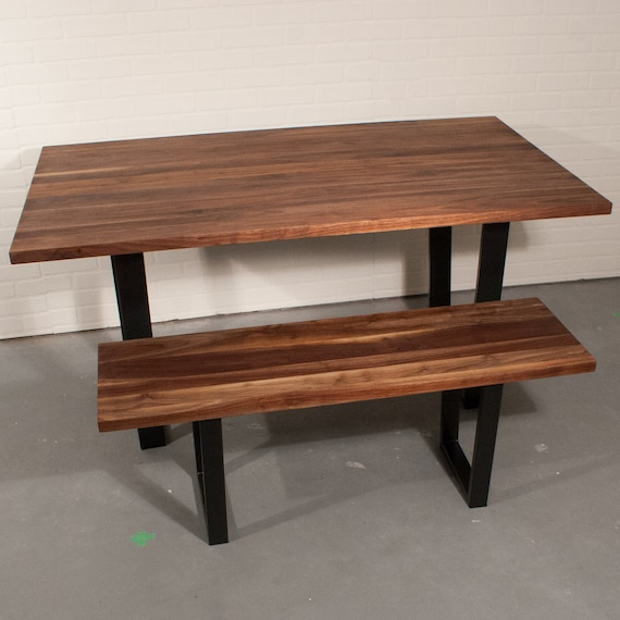 Pleasant Farmhouse Table With Bench Custom Walnut Kitchen Table Walnut Table And Bench On Steel Legs Straight Edge Natural Walnut Table Top Caraccident5 Cool Chair Designs And Ideas Caraccident5Info