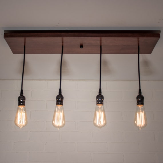 Edison Ceiling Light Fixture - Kitchen Island Chandelier with 4 pendants -  Custom Farmhouse Kitchen Lighting