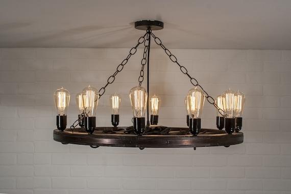 Wagon Wheel Light With 12 Edison Bulbs Farmhouse Chandelier Lighting Rustic Ceiling Light Fixture