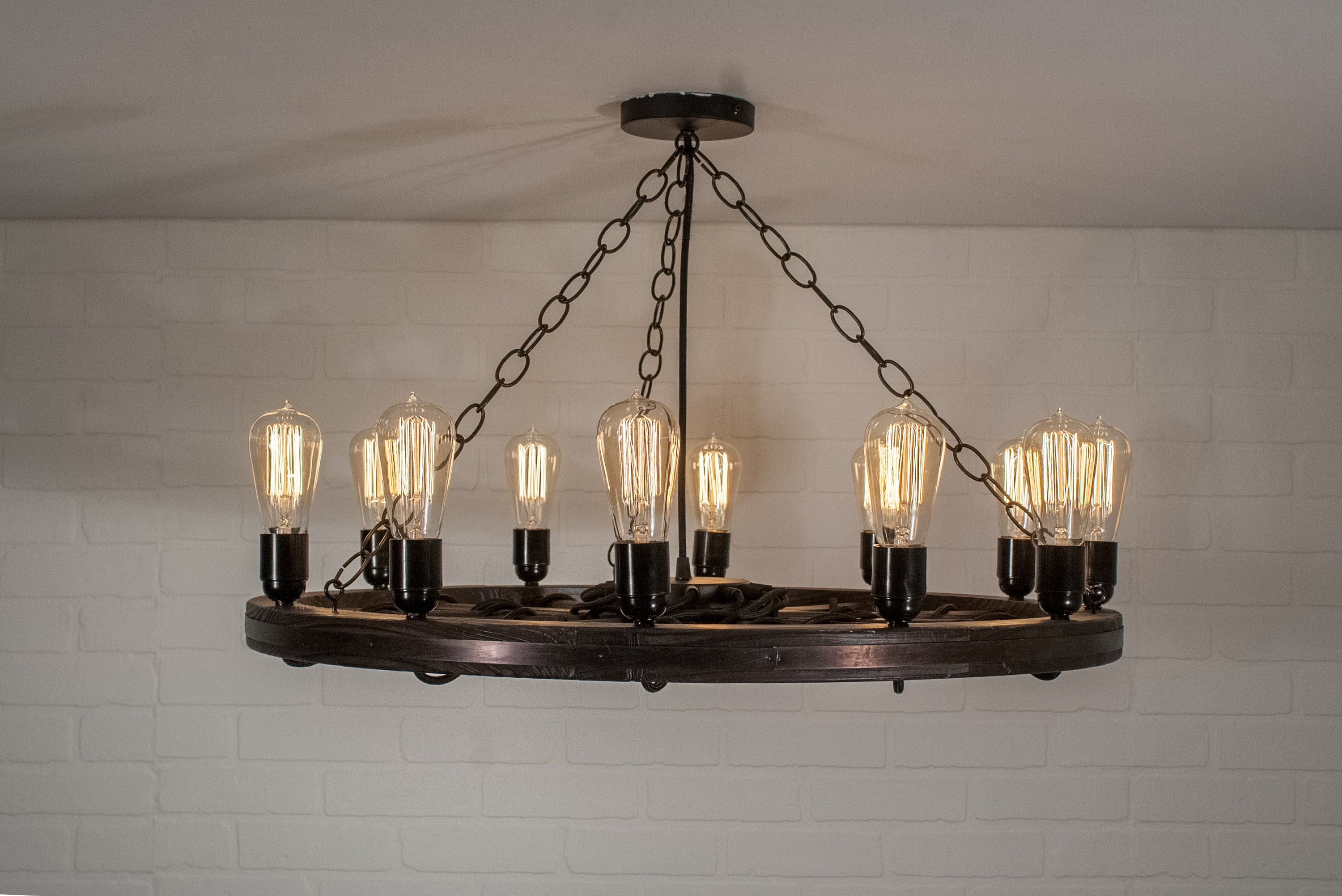 Wagon wheel light with 12 edison bulbs farmhouse chandelier lighting rustic ceiling light fixture