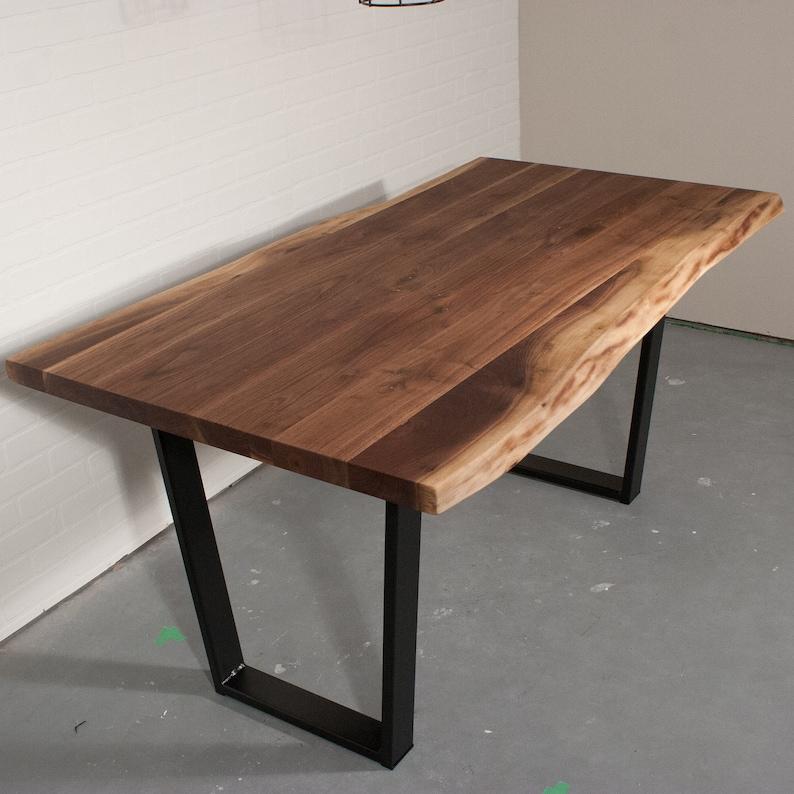 Custom Live Edge Walnut Dining Table On Steel Legs Walnut Etsy