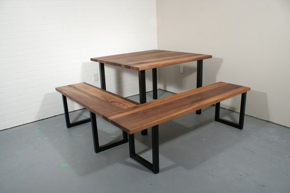 Custom Walnut Table - Corner Dining Table and Benches - Walnut Dining Table  Bench Set on Steel Legs - Straight Edge Natural Walnut Table Top