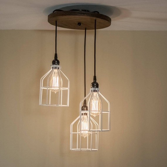 Farmhouse Pendant Light Custom Edison Wood Light Fixture Rustic Kitchen Island Chandelier Featuring Three Pendant Lights With Cages