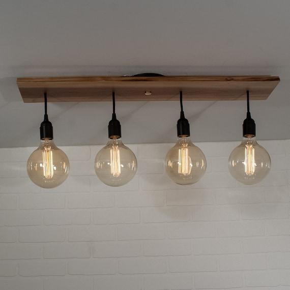 Modern Kitchen Island Lighting Fixture With 4 Short Edison Bulb Pendants Custom Wood Edison Light Chandelier