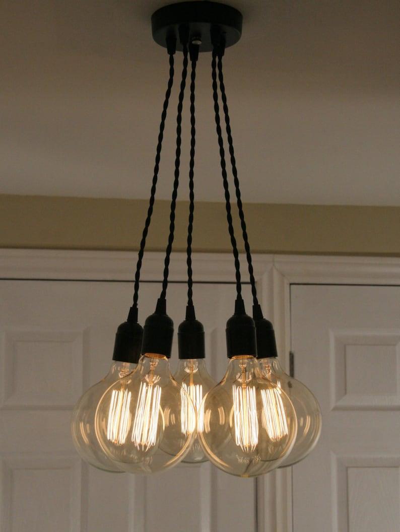 Custom edison light fixture cluster light with 5 pendants custom edison chandelier light modern industrial chandelier