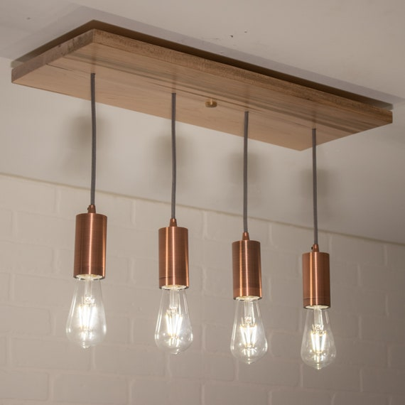 Modern Kitchen Light - Farmhouse Pendant Lighting - Custom Wood Chandelier  Fixture with 4 Pendant Lights - Rustic Wood Chandelier
