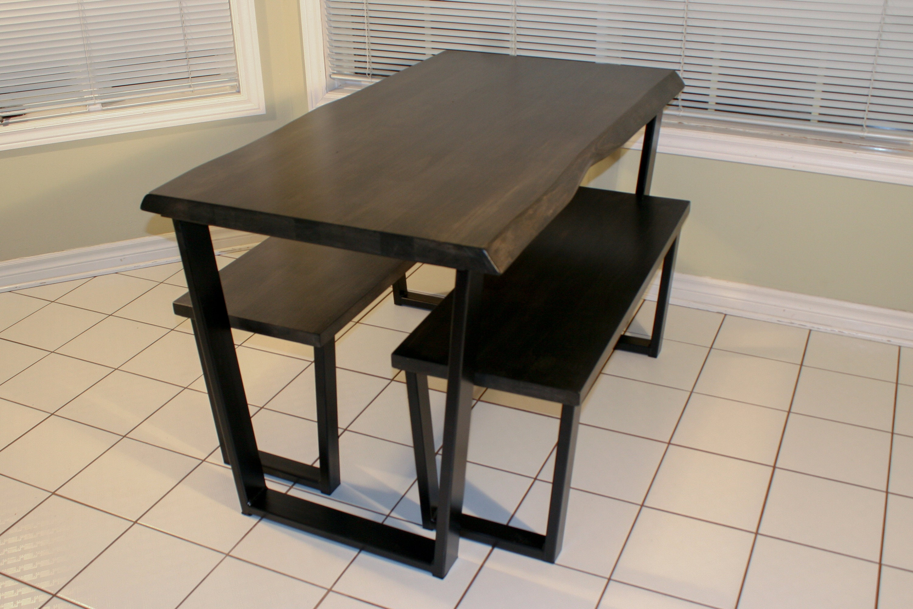 Small Kitchen Table With Benches Live Edge Solid Wood Dining Etsy