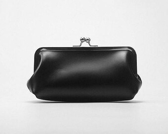 Handmade Leather Clutch Snap Closure Mini Clutch Phone Case Makeup Cosmetic Pouch Leather Evening Bag Gift for Her