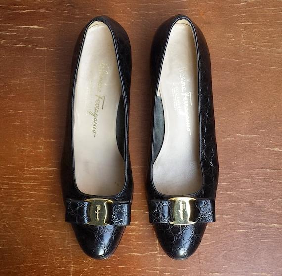 pumps 1990's 2B Women's Ferragamo Vara embossed 7 size croc 1 black bow Salvatore xxg4B1