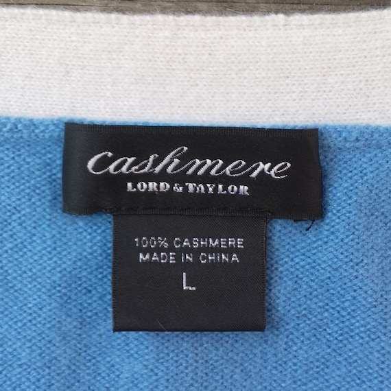amp; cashmere trim Lord 1990's v light Taylor blue neck cardigan white large 5O7nHqBfwg