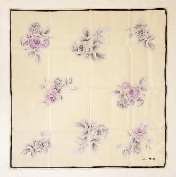 1980's Hanae Mori silk scarf - floral pattern