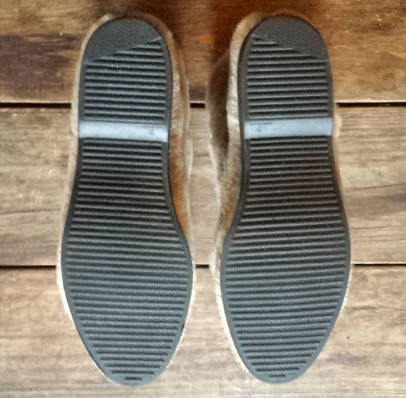 Size 'Seal' Faux 7 mukluks fur light grey buckled 1970's nxZUFPx