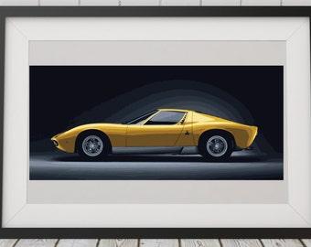 LARGE PRINT Lamborghini Miura / Lambo / Gold Lamborghini / Sports Car Art / Man Cave Art / Super Car Art / Top Gear