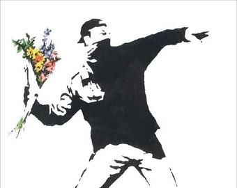 LARGE Banksy Print / Banksy Poster / Banksy Rage The Flower Thrower / Banksy Throwing Flowers / Banksy Art / Rage Throwing Flowers