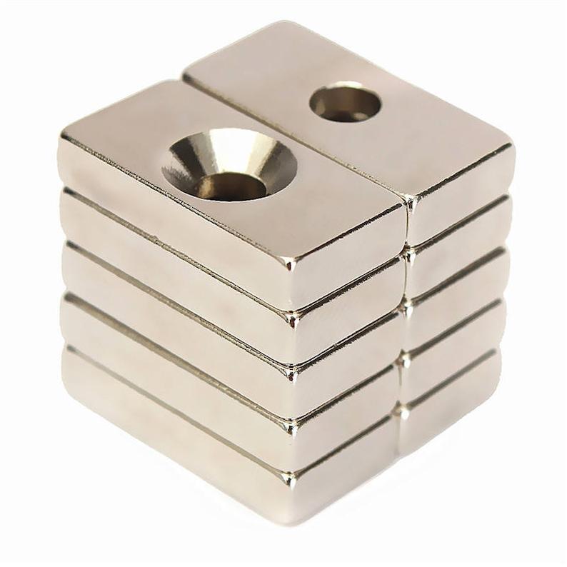10pcs 20×10×5mm Super Strong Neodymium Block Magnets Hole Rare Earth N50 Grade