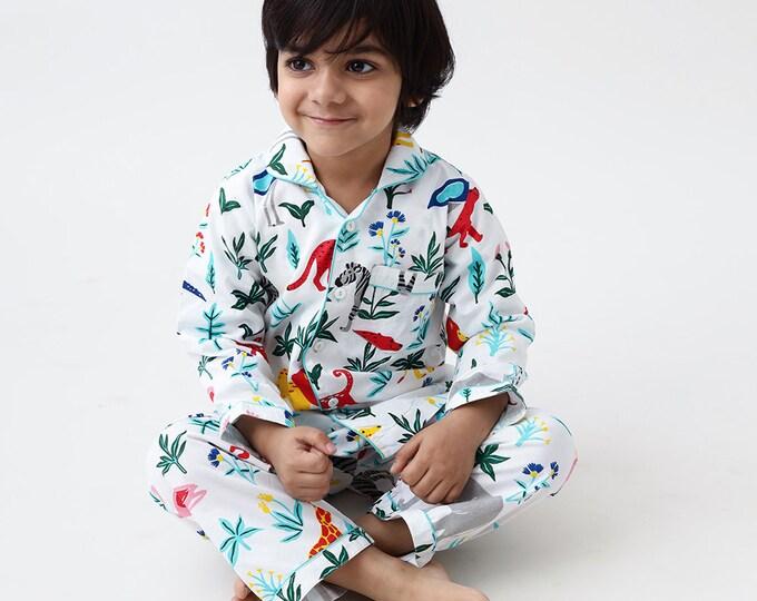 Kids Pajama Set Kids Clothing Personalized Pyjamas Organic Serengeti Jungle Safari Luxury Nightwear PJs Clothing for Baby and Kids